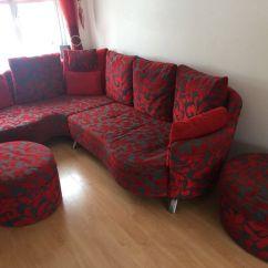 Swivel Chair Sofa Set Stool Argos Dfs Red And Black Fabric Corner Foot Stools Recliner