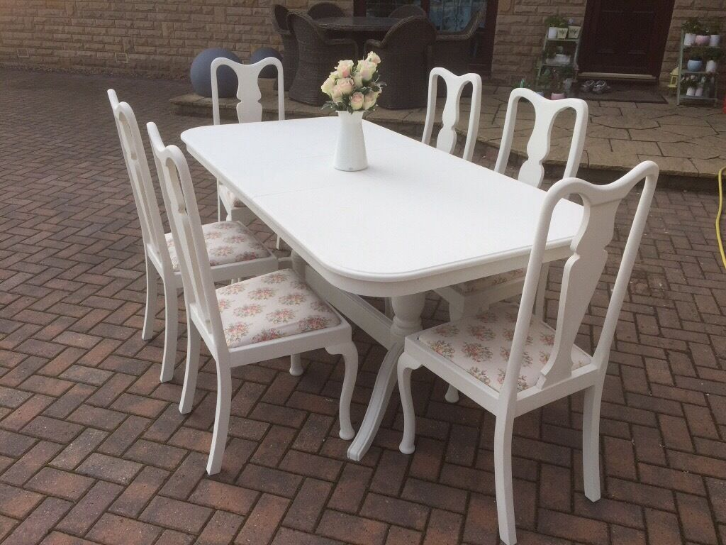 painted queen anne sofa table walnut set reduced shabby chic dining and 6 chairs