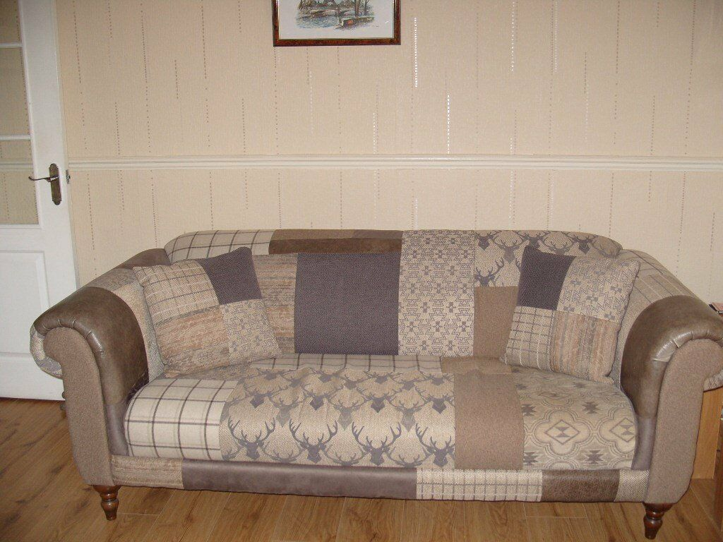 brown sofas cheap sleigh sofa bed dfs country patch maxi with cushions (brown & beige ...