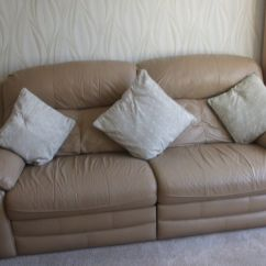 Sofa Seat Height 60cm Beds British Made Taupe Leather 3 Seater Matching Armchair Both With Electric Recliners
