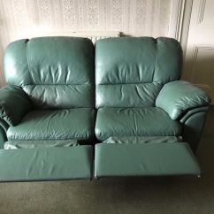 Sage Green Leather Sofa Oak Pedestal Table Microfiber Fabric Living Room