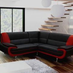 Berlin Corner Sofa With Table 2 Stools Set Extra Long Black Leather The Side Tables Mikhila Thesofa
