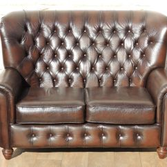 High Back Chesterfield Sofa Blue Sectional Bed Antique Brown Leather Delivery In