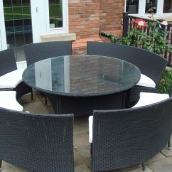 Rattan Table And Chairs Wholesale Chair Covers Amazon Black Circular Garden In