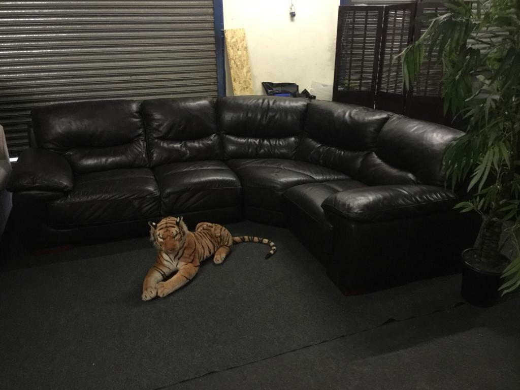 dfs brown half leather corner sofa sectional reclining sofas for small es dazzle in swansea gumtree