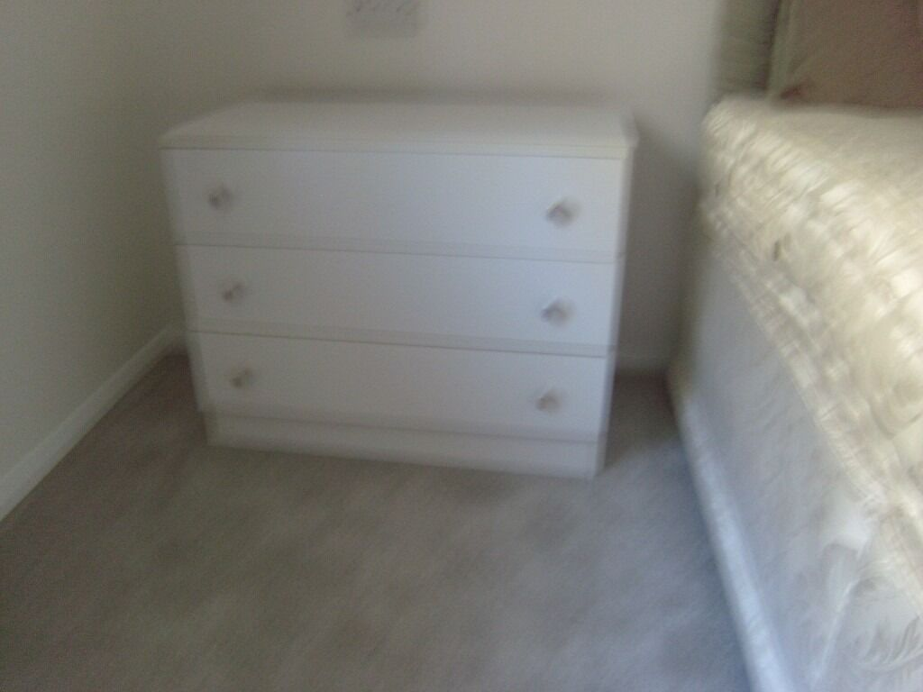 Two Chests of 3 drawers  White melamine 76cm wide x 40 cm deep x 60 cm high  in Lower Bourne