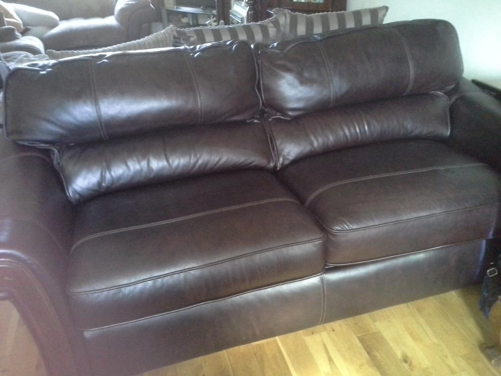 leather 3 seat sofa bed brown colour seater in lisburn county