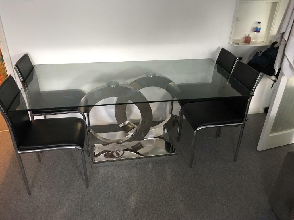 Coco Chanel Modern Glass Top Dining Table In Rochester