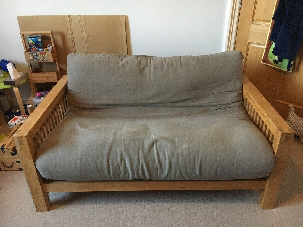 sofa bed second hand bristol inflatable intex futon company oke trifold 2 seater solid oak used in