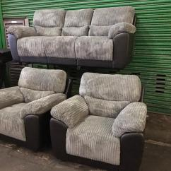Sienna Sofa Bradington Young Sectional Sofas Littlewoods Recliner Grey Cord Fabric And Black Leather Three Piece 3 Seater 2 Armchairs