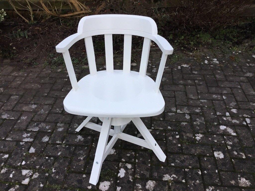 Ikea Feodor white wood swivel chair  in Stoke Bishop
