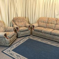 2 Seater Sofa And Armchairs Square Feet Floral 3 Piece Suite High Wing Back