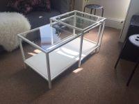 IKEA Vittsjo Nesting Coffee Table in White Metal & Glass ...