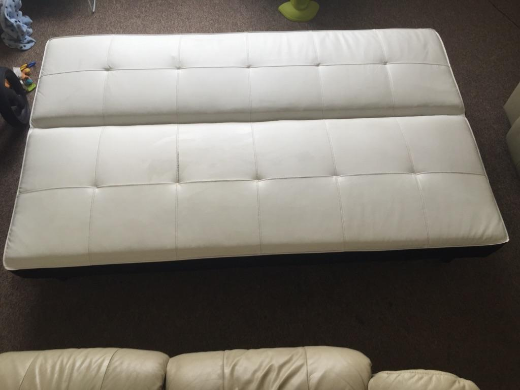 leather 3 seat sofa bed metal frame pull out faux seater in crediton devon gumtree