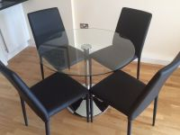 Round glass pedestal dining table & 4 chairs | in Angel ...
