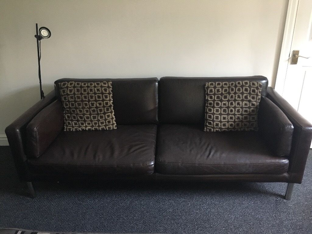 ikea sater sofa capri 2 x 5 brown faux leather sofas in roundhay