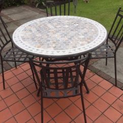4 Seater Table And Chairs Modern Swivel B Andq Sofia Metal Mosaic Garden With