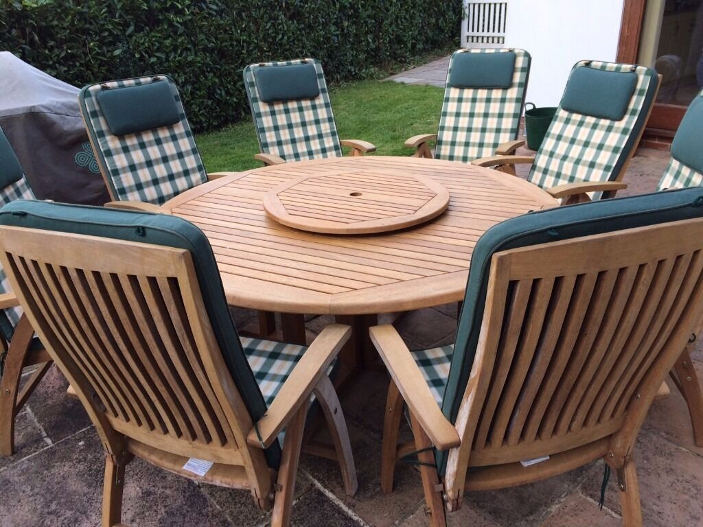 reclining patio chairs and table computer chair philippines nova teak furniture set 6 8 seat with