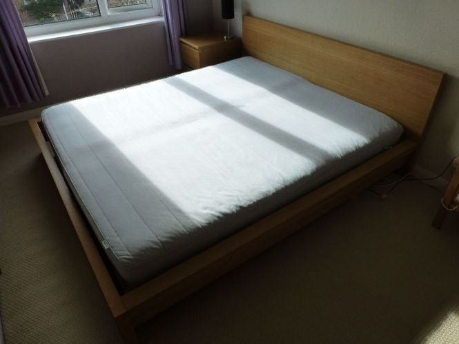 Ikea Super King Size Malm Bed With Sultun Mattress