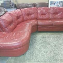 Dfs Red Leather Corner Sofa Bed Double Sleeper Size Real From In Monifieth