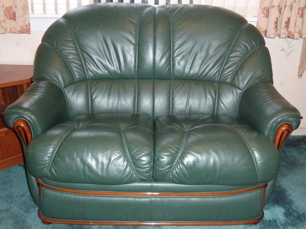 leather 3 seat sofa bed collection carpinteria suite two racing green sofas 2 seater and
