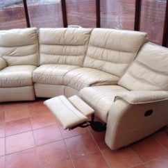 Leather Corner Sofa With Electric Recliner High Quality Futon Bed Cream Suite