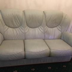 Sage Leather Sofa Flexsteel Dana Three Seater And Chair In Wavertree Merseyside