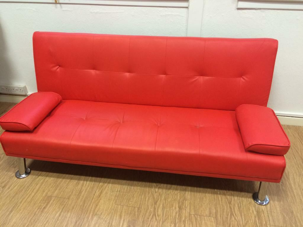 red leather sleeper sofa deep seated corner uk bright bed in kirkintilloch glasgow