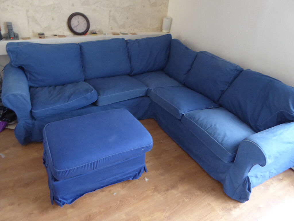 ikea 4 seater sofa cover love your home corner ektorp 2 432 seat l shaped with blue
