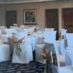 Wedding Chair Covers Pontypridd Folding Cushions Cover Sashes Gumtree Cream Gold And Mirror Tile Table Decorations Suitable For Reception