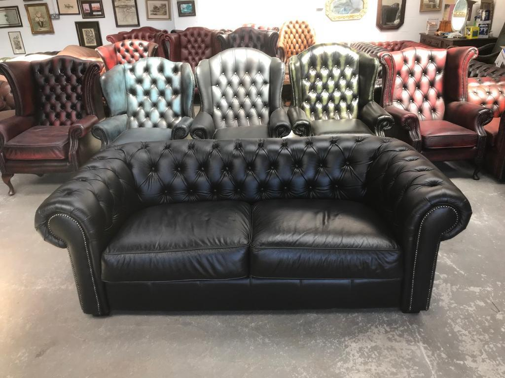 chesterfield sofa buy uk bachelor pad stunning black leather 3 seater delivery in