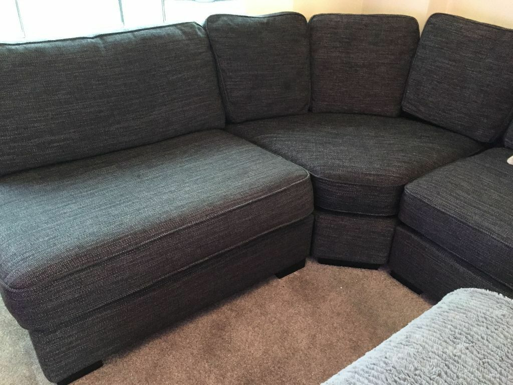dfs brown half leather corner sofa how to remove dye stain from curved new two tone grey fabric curve ...