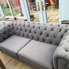 Chesterfield Sofa Material Large Convertible Into A Bed Sofas For Sale Home Light Grey Fabric Excellent Condition