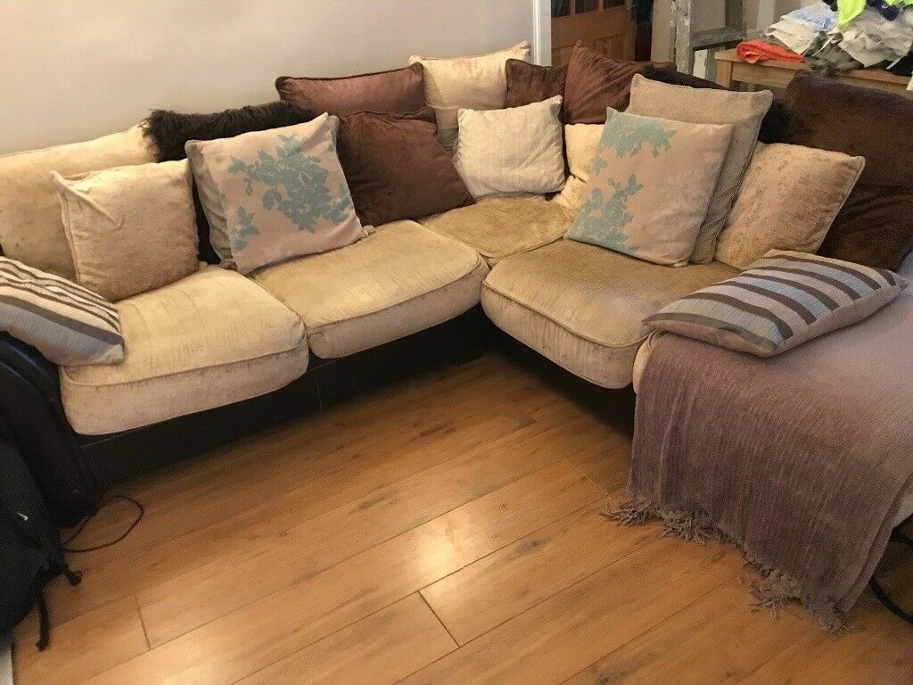 corner sofas glasgow gumtree how to clean feather sofa cushions dfs leather and chenille large left hand in southside