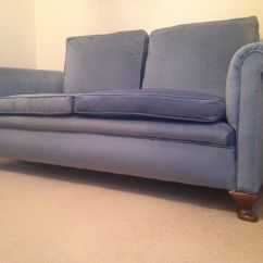Cotton Velvet Sofa Sofas Southern Highlands Antique In Blue With Feather Cushions