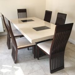 Table And 6 Chairs Collapsible Wooden Chair Plans Dfs Marble Dining Only Months Old