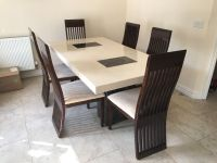 DFS marble dining table and 6 chairs - only 6 months old ...