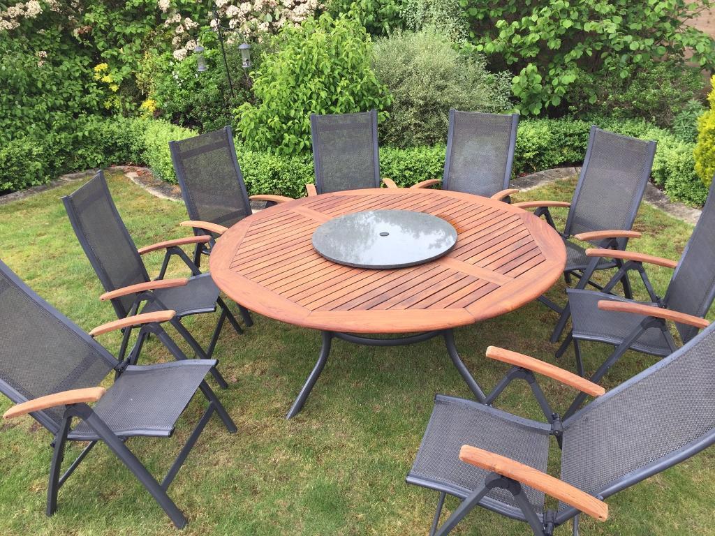 cast iron table and chairs gumtree steel chair in bangalore hartman teak garden 8x with granite lazy susan | goffs oak, hertfordshire ...