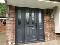 Grey composite front door with two side panels | in ...