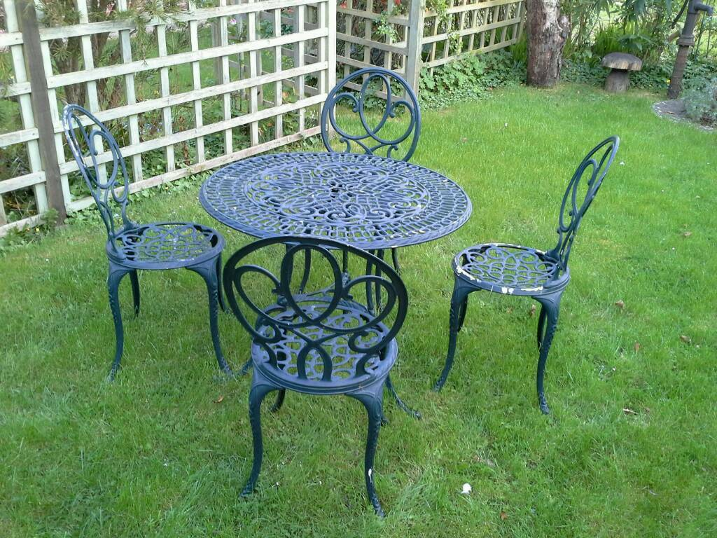 cast iron table and chairs gumtree ikea kitchen chair vintage garden in waterlooville