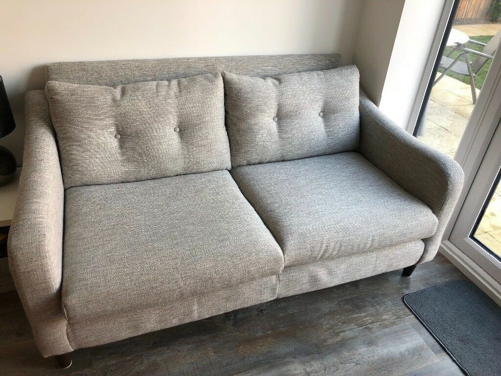 leather sofa brown dfs uk sofas neve 2 seater with grey fabric, feet. cost new ...