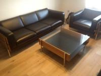 Habitat days forum leather 3 seat sofa and armchair only ...