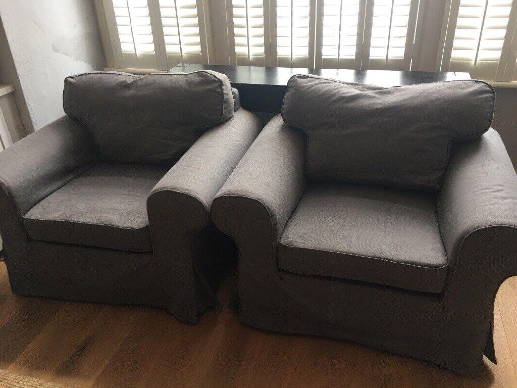 dark grey sofa cover horchow tufted 2 x armchair ikea ektorp nordvalla good
