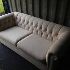 Chesterfield Sofa Material Decoro Leather Review Vintage Style Cream Settee In Teynham