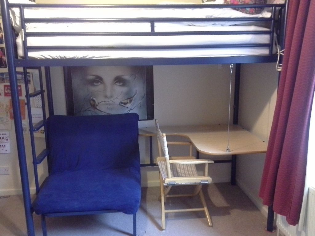 pull out bed chair accessories ikea jaybe metal high cabin with under desk and