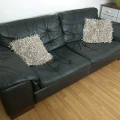 Genuine Leather Sofa Uk Children S Sleeper Black Soft 2 3 Seater Settee Couch