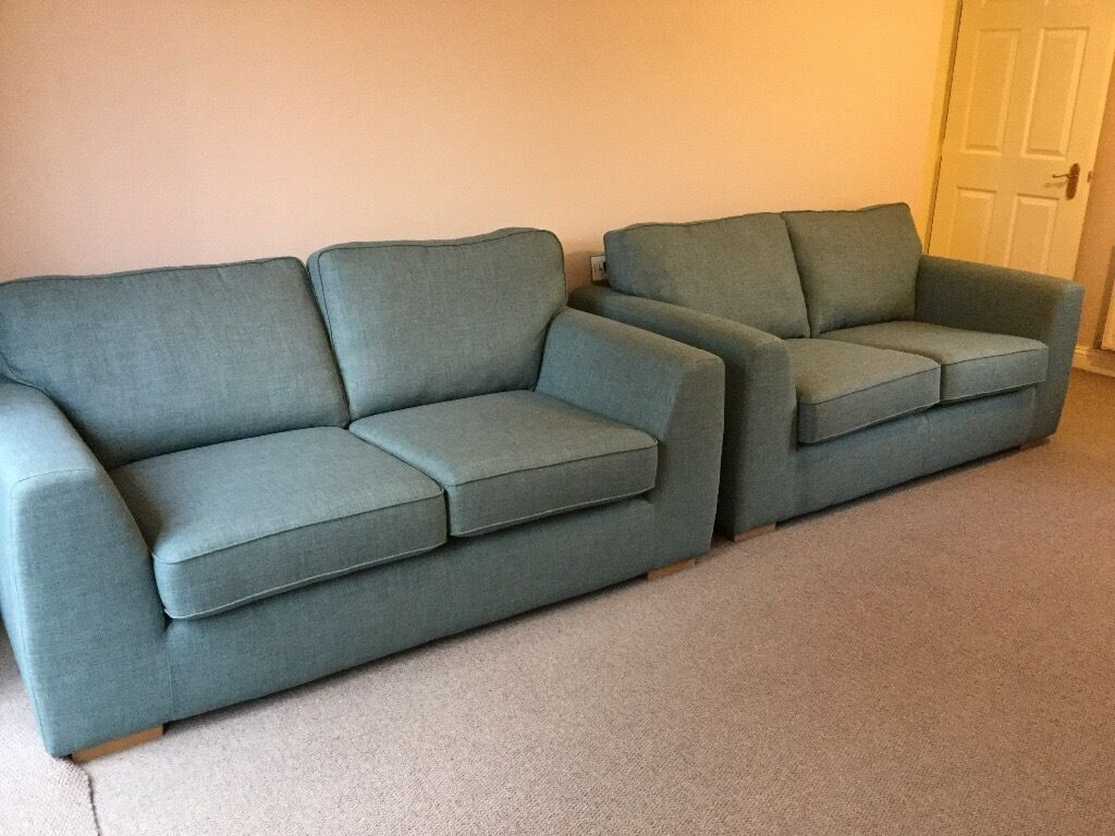 new sofas dfs bed two unused sprint matching blue heather fabric