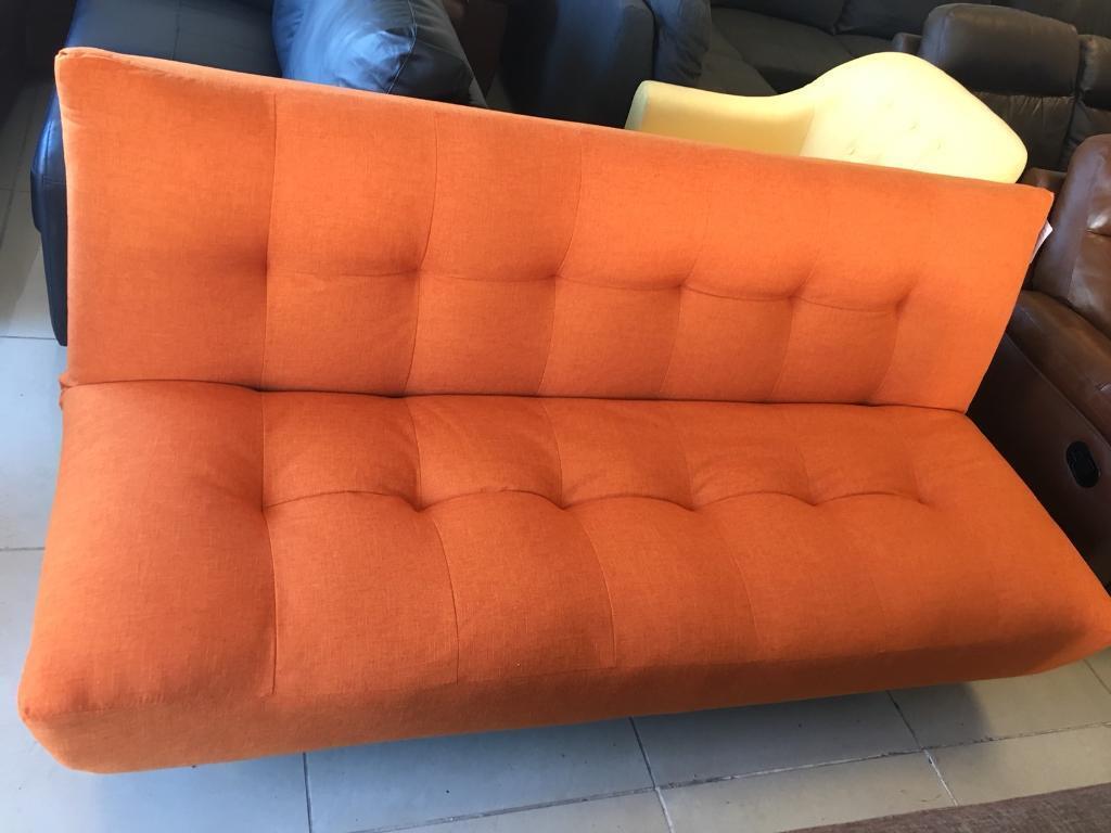 clic clac sofa bed large double palliser edmonton brand new orange fabric small