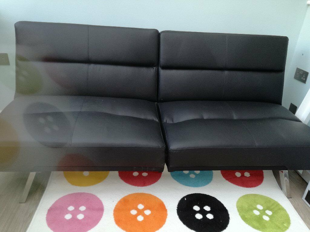 clic clac sofa bed large double back consoles black faux leather in st neots