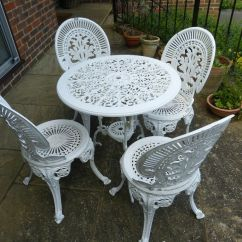 Antique Cast Iron Garden Table And Chairs Counter Chair Step Stool White Furniture Set 4